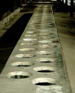 One of the latrines in the Auschwitz-Birkenau camp