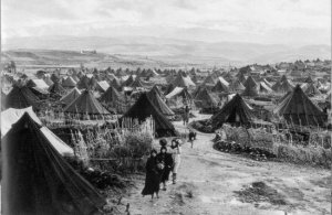 Palestinians were forced to live in tents after they were kicked out in 1948