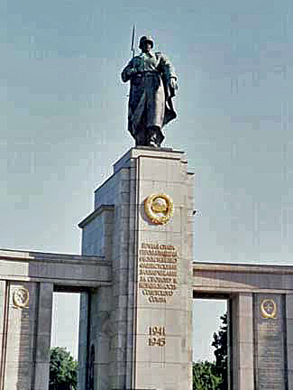 Statue of a Russian soldier on a monument in Berlin
