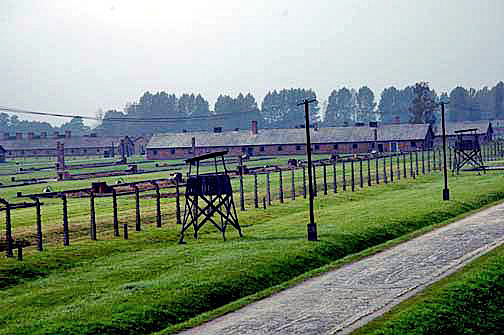 Wooden guard tower at the women's camp in Auschwitz-Birkenau