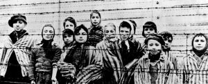 Child survivors in the Auschwitz-Birkenau camp after the camp was liberated