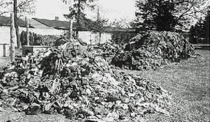 Piles of clothing at Dachau prove that thousands of Jews were killed in the gas chamber