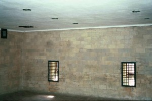 Two little windows on the east wall of the Dachau gas chamber