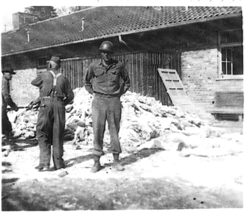 Pile of bodies at the crematorium the day after Dachau was liberated