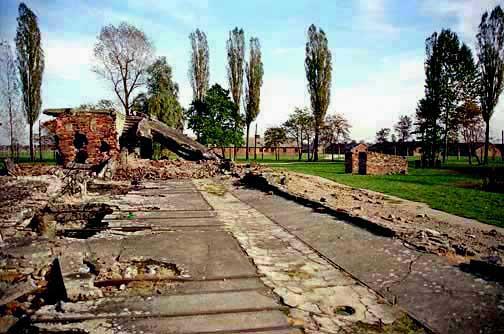 Ruins of the oven room in Krema II at Auschwitz-Birkenau