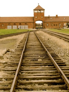 Train tracks inside the Birkenau camp