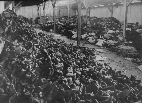 Old photo shows shoes found in a warehouse at Auschwitz