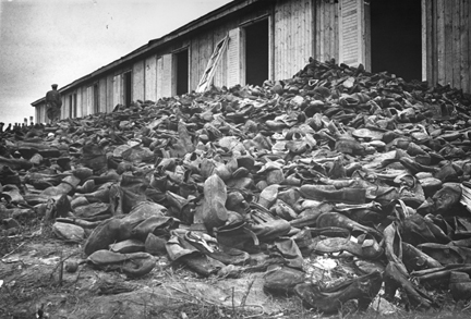 Pile of shoes at Majdanek when the camp was liberated in 1944