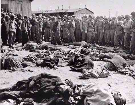 Americans viewing  the bodies of prisoners at Ohrdruf