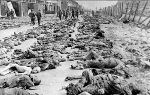 Photo shows prisoners killed by American bombs at Nordhausen
