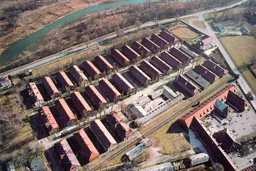 Aerial view of the Auschwitz main camp