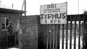 Sign at the gate into Bergen-Belsen warned about the typhus epidemic