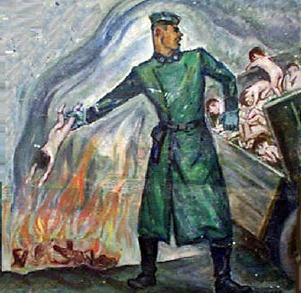 Painting done by a Holocaust survivor shows babies being tossed into a burning pit at Auschwitz-Birkenau
