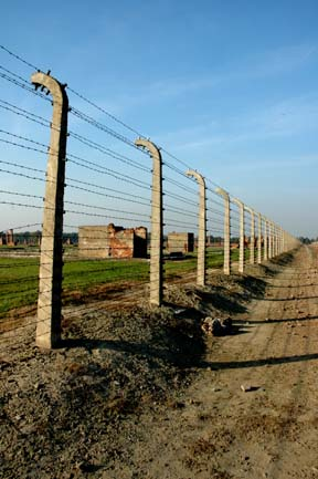 Barbed wire fence around the men's camp at Auschwitz-Birkenau