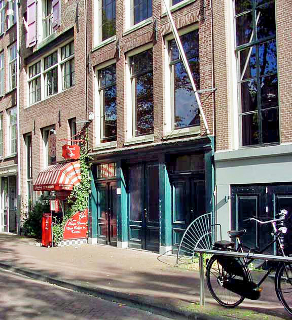 The front door into the Anne Frank house is not open