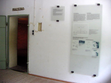 Display on the wall where the door into the gas chamber is located