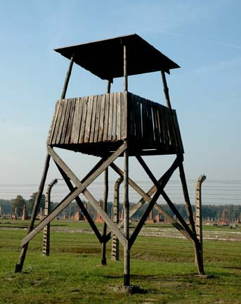 Fake guard tower at  Auschwitz-Birkenau