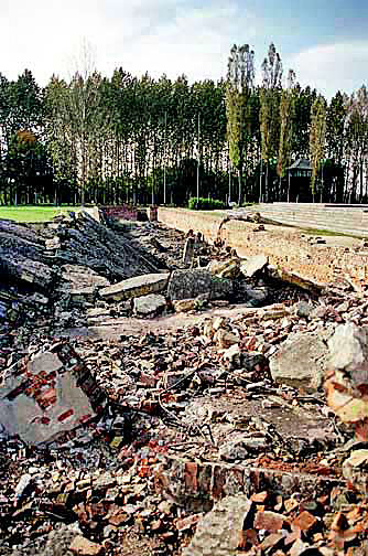 Ruins of the undressing room is on the right