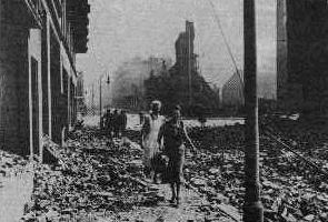 Bomb damage in Hamburg, Germany