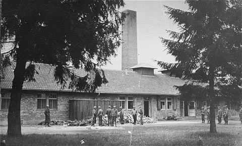 Old photo of BarackeX building, taken in 1945 after Dachau was liberated