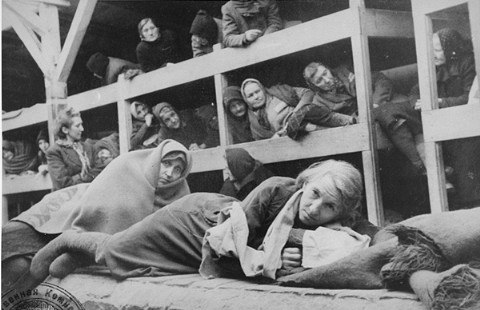 Old women in one of the barracks at Auschwitz-Birkeanu after the camp was liberated