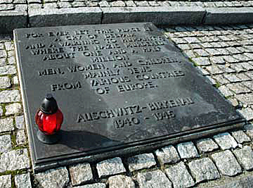 Stone at International Monument at Auschwitz-Birkenau