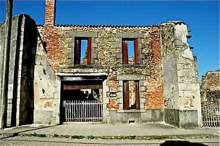 The bakery in Oradour-sur-Glane where a burned body was found