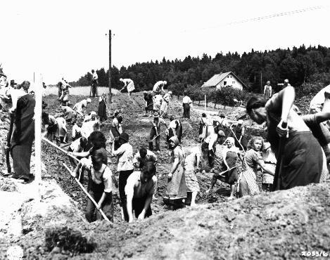 German civilians were forced to dig individual graves for dead Buchenwald prisoners
