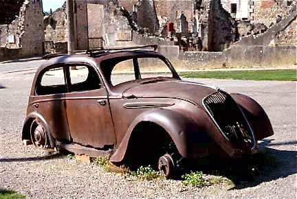 Famous old car at Oradour-sur-Glane