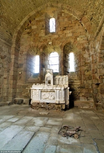 Inside the ruined church at Oradour-sur-Glane where women and children were allegedly burned alive