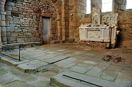 Baby's Pram near altar in church at Oradour-sur-Glane
