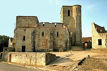 My photo of the ruined church at Oradour-sur-Glane church