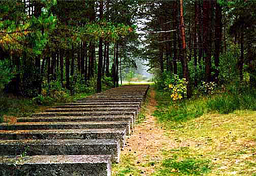 Sculpture at Treblinka resembles the railroad tracks into the camp