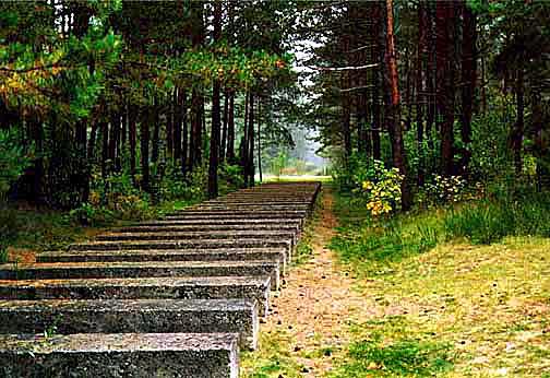 Sculpture at Treblinka resembles the railroad tracks into the camp
