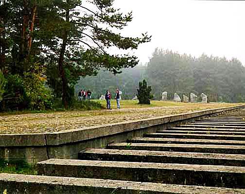 Sculpture represents the train platform at Treblinka