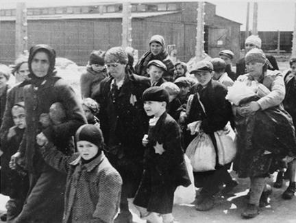 Walking to the gas chamber at Auschwitz-Birkenau