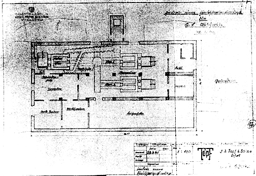 Original blueprint of the Auschwitz gas chamber building