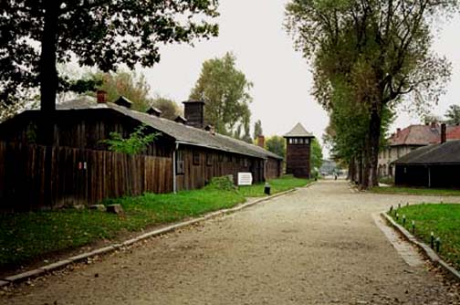 Entrance road into the main Auschwitz camp