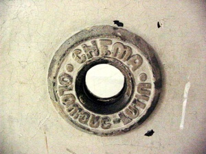 Close-up of the peephole in the Mauthausen gas chamber door is called a Judas opening