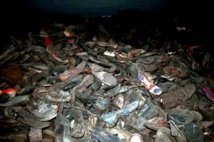 Shoes worn by the prisoners at Auschwitz are on display