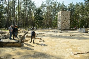The remains of 8 more gas chamber buildings were found near the monument