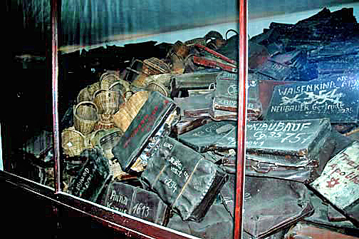 My 1998 photo of the luggage collected from the Jews who were sent to Auschwitz