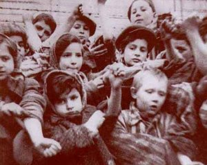 Still shot from a film made by the Soviet liberators at Auschwitz-Birkenau