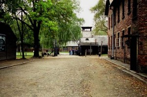 Looking toward the exit from the Auschwitz camp with Block 24 on the right