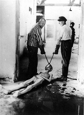 Demonstration of how the corpses were dragged to the ovens at Dachau