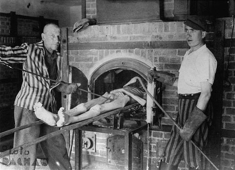 Demonstration of how bodies were put into the ovens at Dachau