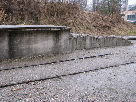 Tracks near the Dachau gate are narrow gauge tracks, not train tracks