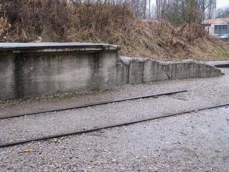 Tracks near the Dachau gate are narrow gauge tracks, not train tracks