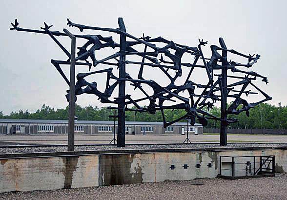 Back side of International monument at Dachau