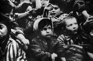 Child survivors of Auschwitz-Birkenau show their tattoos